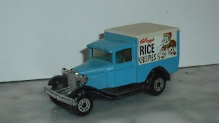 Ford A Van , escala 1/64 de Matchbox Superfast 1979  , con publicidad de Kelloggs Rice Krispies .