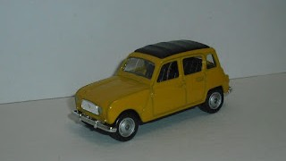 Renault 4 , escala 1/60 , Color Amarillo , de la marca Welly .